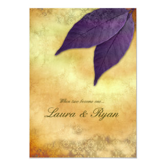 Autumn Wedding Invitation 2 Leaves Purple Cream