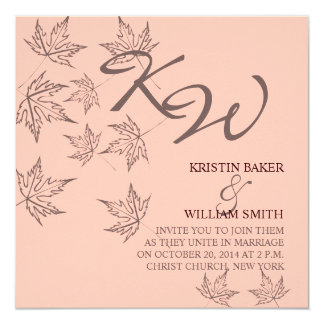 Autumn Wedding  Invitation Leaves Brown Soft Pink