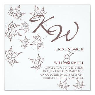 Autumn Wedding  Invitation Leaves Brown White