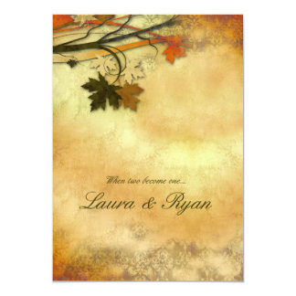 Autumn Wedding Invitation Maple Leaves Orange