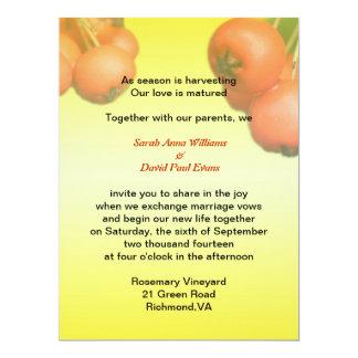 Autumn wedding invitation. Red fruits. Card