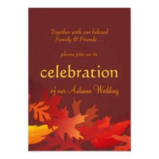 "Autumn Wedding Invitations - Fall Leaves 5"" X 7"" Invitation Card"