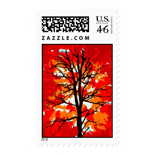 Autumn Wedding Invitations Postage Stamps Fall