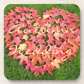 Autumn Wedding Reception drink Coasters leaves