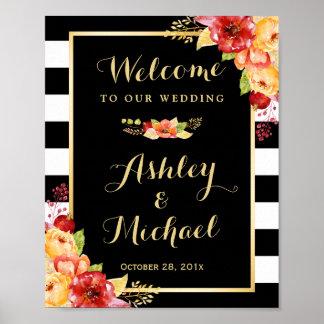 Autumn Wedding Reception Sign Gold Floral Stripes