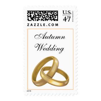 Autumn Wedding Rings Fall Weddings RSVP Invite Postage