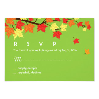 Autumn Wedding RSVP Card with Maple Leaves Falling
