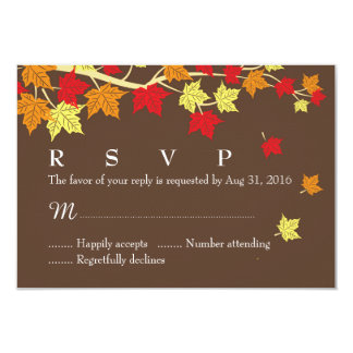 Autumn Wedding RSVP Card with Maple Leaves Falling Personalized Announcements