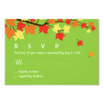 "Autumn Wedding RSVP Card with Maple Leaves Falling 3.5"" X 5"" Invitation Card"