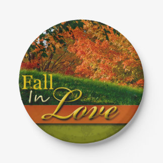 Autumn Wedding Scenic Fall In Love Foliage Photo Paper Plate