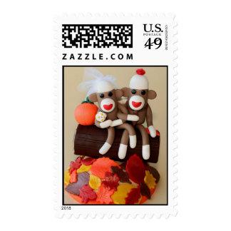 Autumn Wedding Sock Monkeys on a Log Stamp