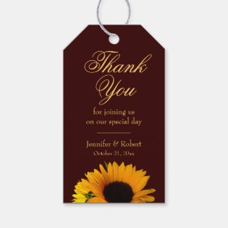 Autumn Wedding Sunflower Thank You Gift Tags