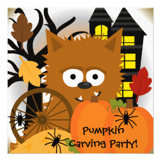 Autumn Werewolf Halloween Party Invitation