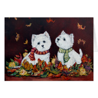 Autumn West Highland White Terriers Card