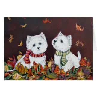 Autumn Westies Greeting Card