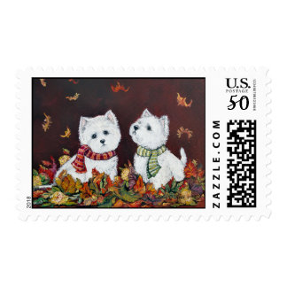 Autumn Westies Postage Stamp
