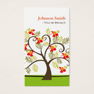 Autumn Whimsical Swirl Tree - Unique and Stylish Business Card