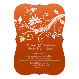 "Autumn Whimsy White and Pumpkin Wedding Invitation 5"" X 7"" Invitation Card"