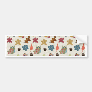 Autumn White Doodle Folk Art Bumper Sticker
