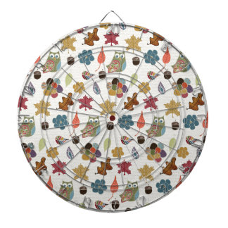 Autumn White Doodle Folk Art Dart Boards