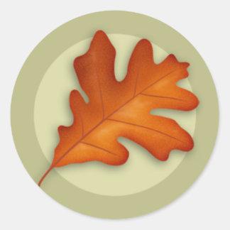 Autumn White Oak Leaf Round Sticker