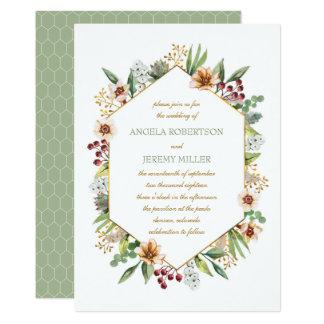 Autumn Wildflower Watercolor Wedding Sage Invitation