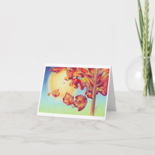 Autumn Wind and Leaves Beautiful Landscape Card