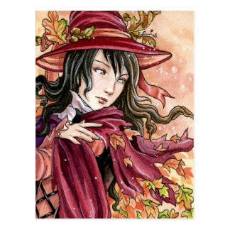 Autumn Winds post card Halloween Witch fantasy