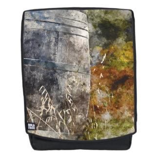 Autumn Wine Barrel in a Vineyard Backpack