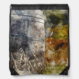 Autumn Wine Barrel in a Vineyard Drawstring Bag