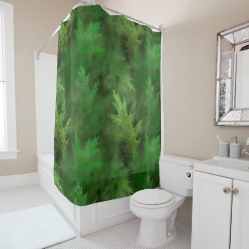 Autumn Winter Fall Leaves Green Shimmer Leaf Shower Curtain