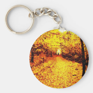 Autumn winter Leafs natural natural  Green Trees E Keychain