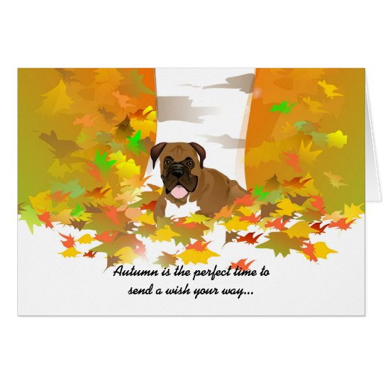 Autumn Wishes Card - Boxer Dog Autumn Leaves