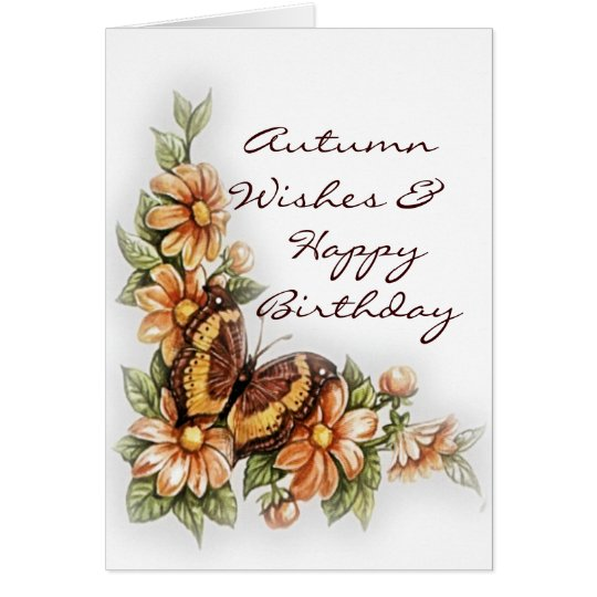 Autumn Wishes Happy Birthday Greeting Card