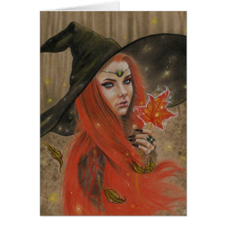 Autumn Witch Sparkles Card