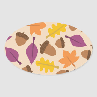 autumn with acorn and oak leaves oval sticker