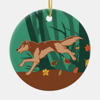 Autumn Wolf Ceramic Ornament