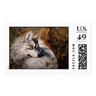 Autumn Wolf Postage Stamp