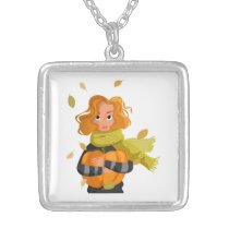 AUTUMN WOMAN SILVER PLATED NECKLACE