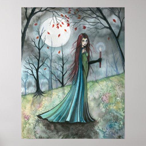 Autumn Wood Vampire Gothic Poster Print