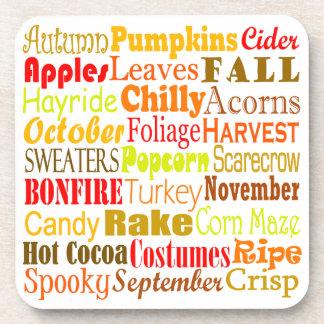 Autumn Words Beverage Coaster