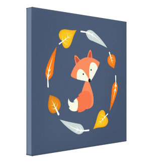 Autumn Wreath Baby Red Fox Canvas Print