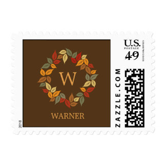 Autumn Wreath Fall Postage Postage Stamps