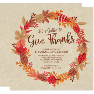 Autumn Wreath Give Thanks Thanksgiving Dinner Card at Zazzle