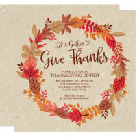 Autumn Wreath Give Thanks Thanksgiving Dinner Invitation