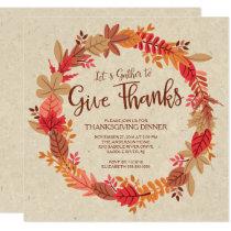 Autumn Wreath Give Thanks Thanksgiving Dinner Invitation