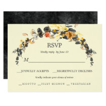 Autumn Wreath | Modern Wedding RSVP meal choice Card
