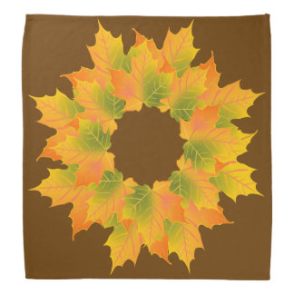 Autumn Wreath on Brown Bandana