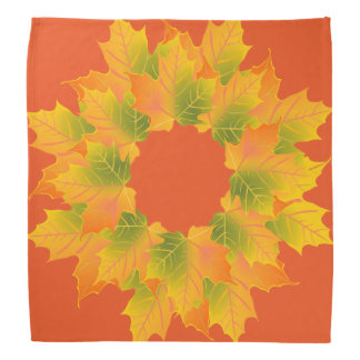 Autumn Wreath on Orange Bandana