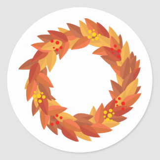Autumn Wreath With Berries Classic Round Sticker